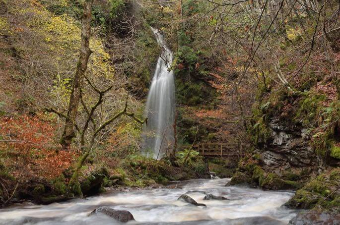 Autumn colors waterfall Sutherland Scotland A Tryon