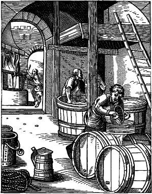 An engraving of a German brewery centuries ago