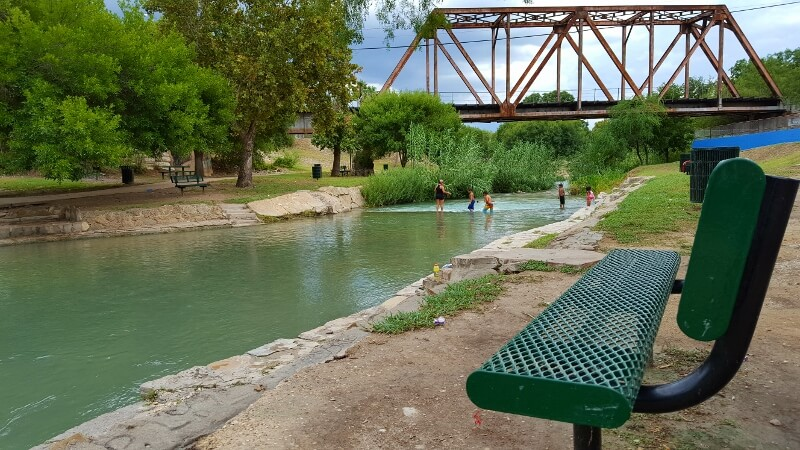 Spring waters in Moore Park near downtown Del Rio TX on a west Texas road trip (photo by Sheila Scarborough)