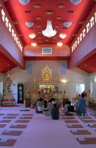 Inside of a Thai temple, not in Thailand, but in Tampa Florida where there's a Sunday meal open to the public.