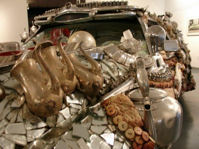 Why yes, those ARE coffee pots on that car, ArtCar Museum, Houston (Scarborough photo)
