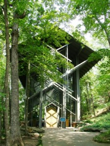 Thorncrown Chapel exterior, Eureka Springs, Arkansas (photo by Sheila Scarborough)