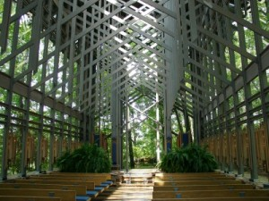 Thorncrown Chapel, Eureka Springs AR interior (photo by Sheila Scarb