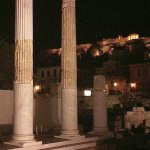 Athens Greece at night, seeing ancient history