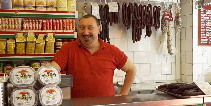 Budapest local tour sausage vendor