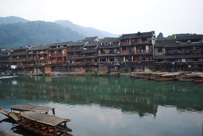 china, hunan houses along river