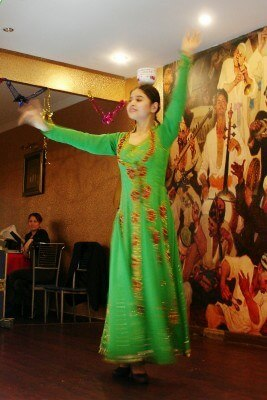 Dancer at the Uighur Restaurant, Shanghai (photo by Sheila Scarborough)