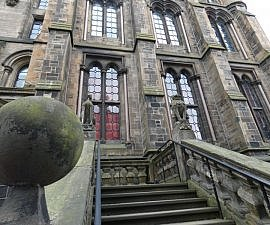 uni glasgow chapel unicorn ball stairs