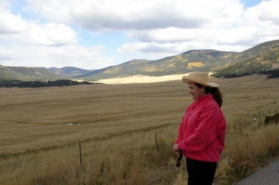 Looking down into Valles Caldera National Preserve, New Mexico (photo by Sheila Scarborough)