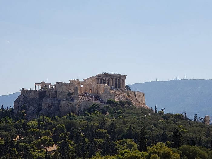 View of the Acropolis in Athens from Pynx Hill