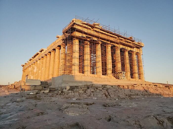 The Parthenon at Sunset in Greece